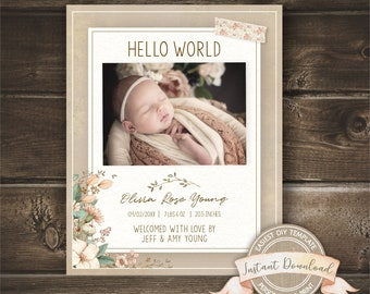 Editable Birth Announcement, Photo Birth Announcement Template Girl, Printable by you with Corjl, INSTANT ACCESS, Social Media Announcement
