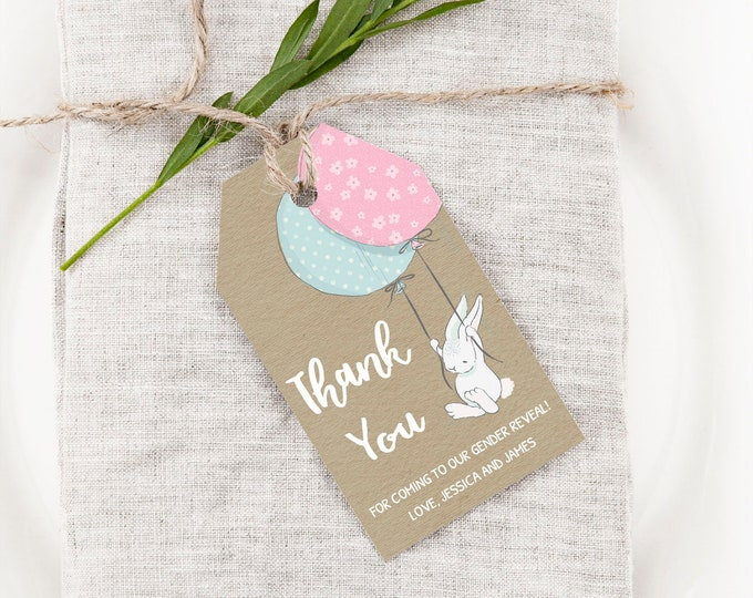 Bunny Gender Reveal Thank You Cards, Instant Access, Editable and Printable by you with Corjl, Bunny Favor Tags, DIY Bunny Party Favors