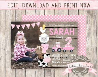 Farm Birthday Invitation with Photo for Girl, INSTANT ACCESS, Editable Barnyard Invite, Printable Farm Template, Farm Party Invitation