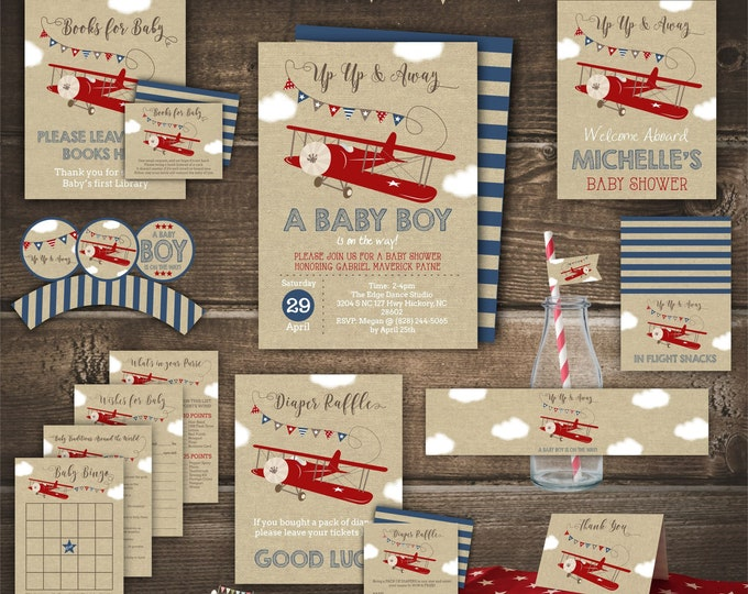 Airplane Baby Shower Printable Set, Up Up and Away, Boy Baby Shower, Editable by you with Corjl, Instant Download, Personalized Digital Kit