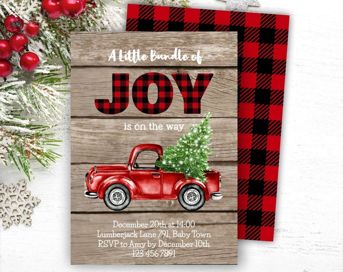 Rustic Christmas Truck Baby Shower Invitation, Editable Red Truck Baby Shower Invite for Boy, Printable Lumberjack Template, Instant Access