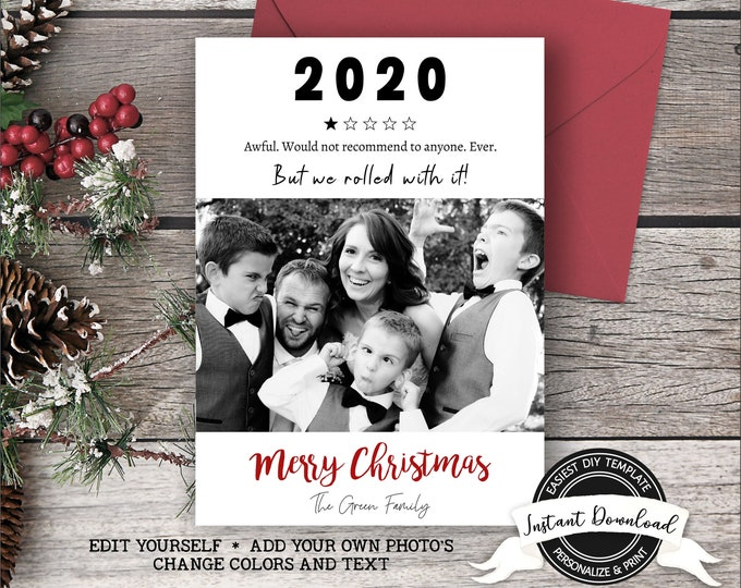 2020 Christmas Card | Funny Christmas Photo Card | Rolled with it Christmas Card