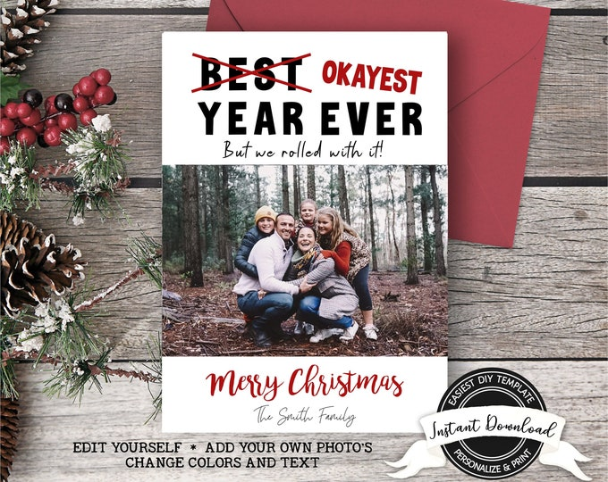 2020 Christmas Photo Card | Okayest Year Ever Christmas Card | Funny Christmas Card 2020