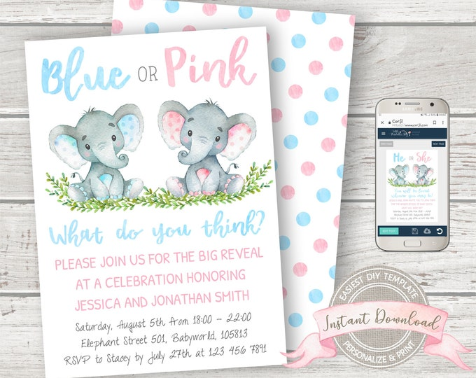 Elephant Gender Reveal Invitation, INSTANT DOWNLOAD, Elephant Baby Shower Invite, Blue or Pink, Editable and Printable by you with Corjl