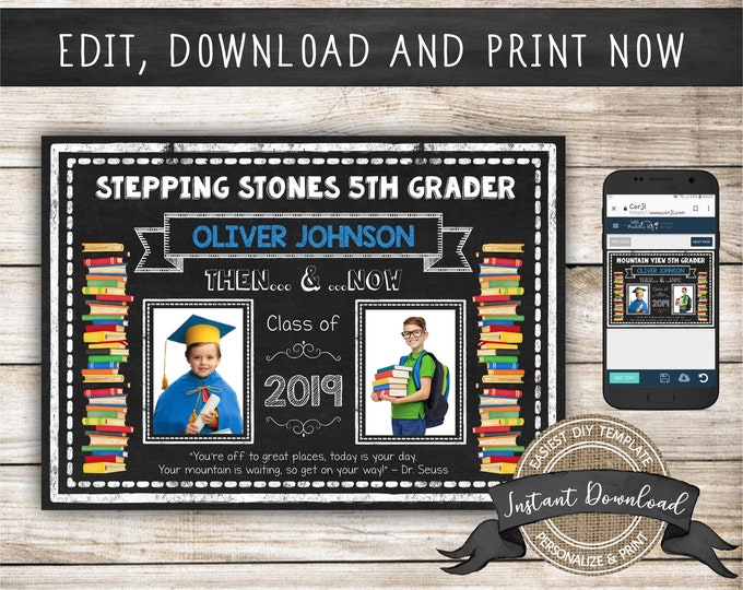 Graduation Photo Announcement Then and Now, Editable and Printable by you with Corjl, INSTANT DOWNLOAD, Edit ALL Text