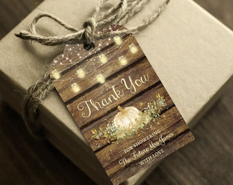 Fall Bridal Shower Thank You Tags, Instant Access, Editable and Printable by you, Rustic Bridal Shower Party Favors, Pumpkin Thank You Cards