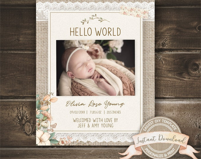 Birth Announcement, Editable and Printable by you, New Baby Photo Announcement, Burlap and Lace, INSTANT ACCESS, Social Media Announcement