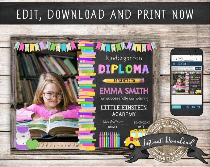 Editable Kindergarten Diploma with Photo, Any Grade, INSTANT DOWNLOAD, Printable Preschool Certificate, Graduation Diploma Template