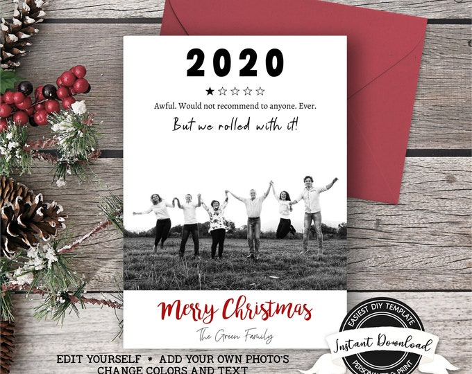 2020 Christmas Photo Card | Rolled with it Christmas Card | Funny Photo Christmas Card