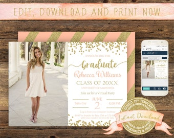 Virtual Graduation Invitation, Instant Access, Editable Social Distancing Graduation Invite, Printable Quarantine Graduation Party Template
