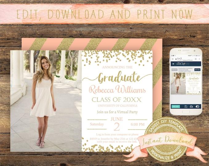 Virtual Graduation Invitation, Instant Access, Editable Social Distancing Graduation Invite, Printable Quarantine Graduation Party Template