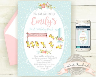 Editable Duck Invitation, Digital Instant Download, Printable Birthday Invitation for a Girl, Personalize with Corjl