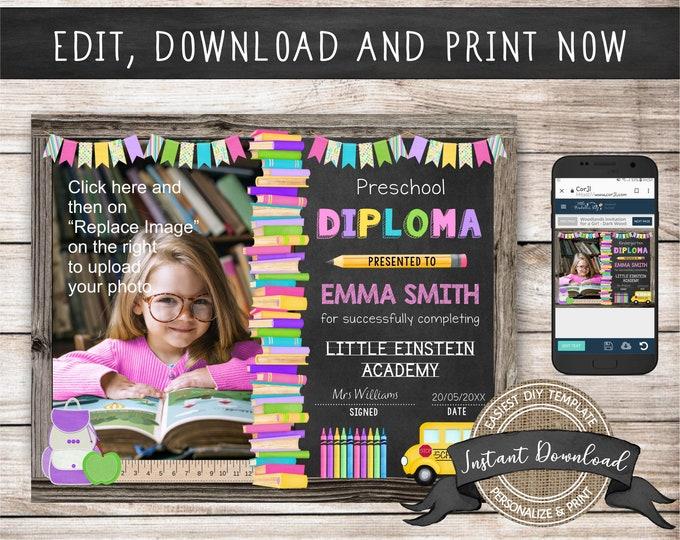 Printable Preschool Diploma with Photo, Any Grade, INSTANT ACCESS, Editable Kindergarten Certificate Template, Preschool Graduation Diploma