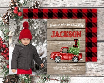 Rustic Christmas Truck Photo Birthday Invitation, Editable Red Truck 1st Birthday Invite, Lumberjack Printable Template, Instant Access