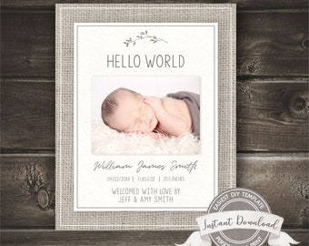Birth Announcement Template, Photo Birth Announcement Boy, Editable & Printable by you with Corjl, INSTANT ACCESS, Social Media Announcement