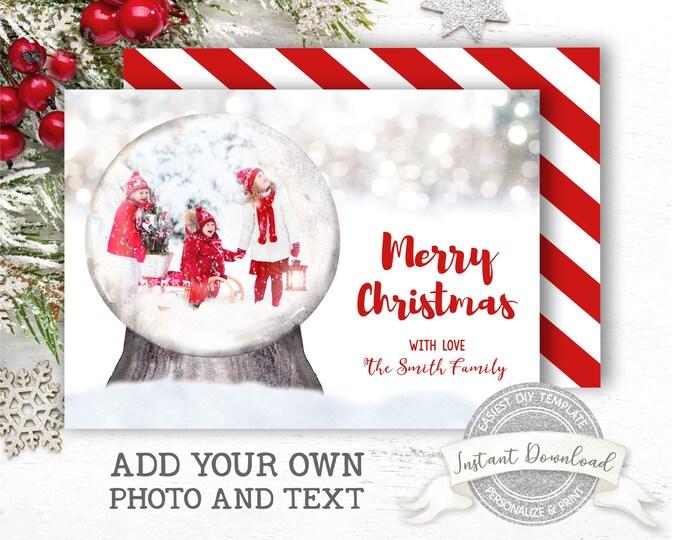 Editable Christmas Photo Card | DIY Snow Globe Christmas Card