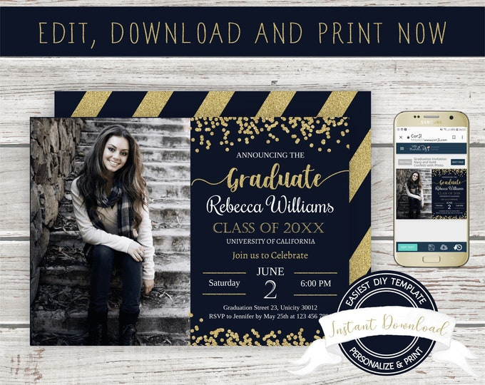 Graduation Photo Invitation, INSTANT DOWNLOAD, Editable Graduation Invite with Picture, Printable Template, Digital Graduation Announcement