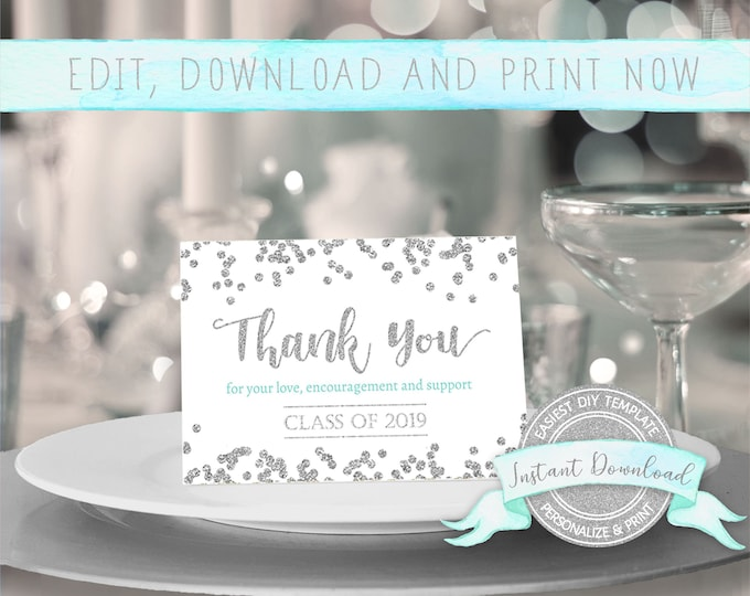 Editable Graduation Thank You Card with Silver Confetti, INSTANT DOWNLOAD, Edit yourself with Corjl, Digital 3.5 x 5 cards