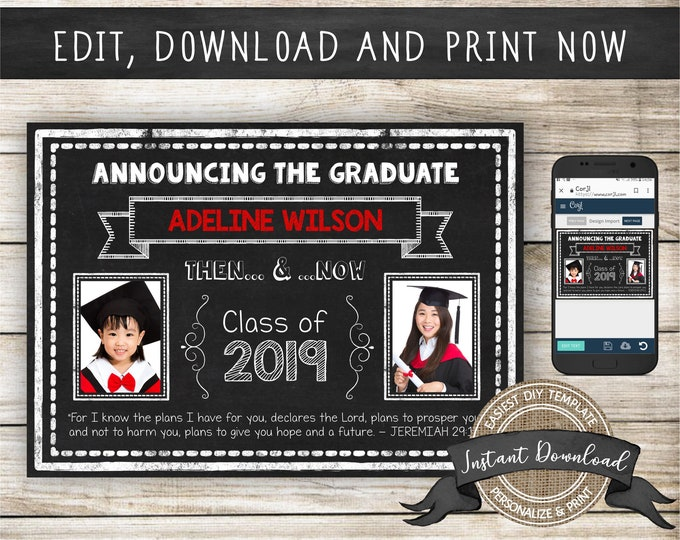Graduation Photo Announcement, Editable and Printable by you with Corjl, INSTANT DOWNLOAD, Christian Graduate Template, Jeremiah 29 11