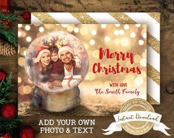 Snow Globe Christmas Photo Card | DIY Christmas Card
