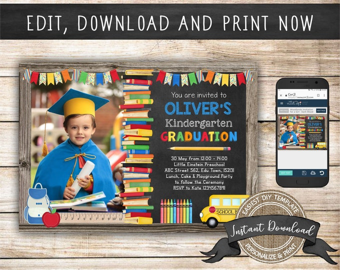 Kindergarten Graduation Invitation with Photo for a Boy or Girl, Editable and Printable by you with Corjl, INSTANT DOWNLOAD