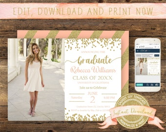 Graduation Photo Invitation, Instant Download, Editable Invite with Picture, Printable, Digital Announcement Template, Graduation Party