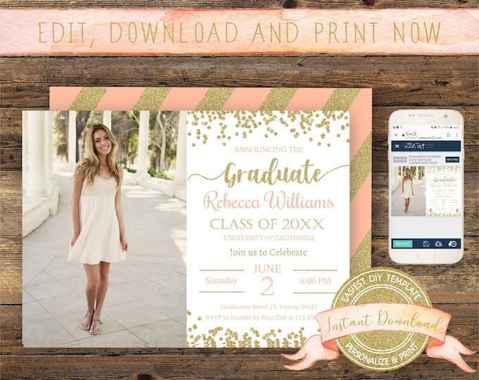 Graduation Photo Invitation, Instant Download, Editable Invite with Picture, Printable, Digital Announcement Template, Graduation Party