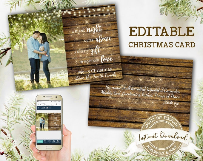 Religious Christmas Card with Photo | Rustic Christian Christmas Card Template