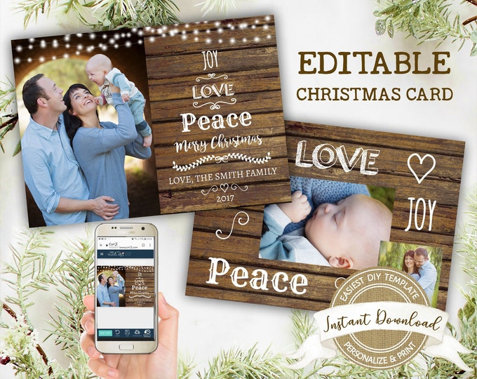 Rustic Christmas Photo Card | Printable Joy Love Peace Christmas Card