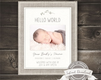 Gender Neutral Birth Announcement, Photo Birth Announcement Template, Editable Printable, INSTANT ACCESS, Burlap Social Media Announcement