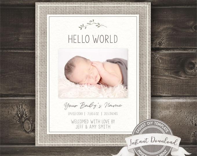 Gender Neutral Birth Announcement, Photo Birth Announcement Template, Editable Printable, INSTANT ACCESS, Burlap Social Media Announcement