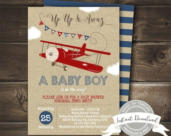 Airplane Baby Shower Invitation, Up Up and Away Invite, Boy Baby Shower, Editable & Printable, Digital, Instant Access, EDIT NOW with Corjl
