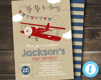 Airplane Birthday Invitation INSTANT DOWNLOAD Up And Away Editable With Templett Printable Digital Vintage Party