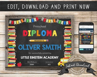 Editable Preschool Diploma, Any Grade, INSTANT DOWNLOAD, Printable Kindergarten Certificate, Graduation Diploma, Preschool Certificate