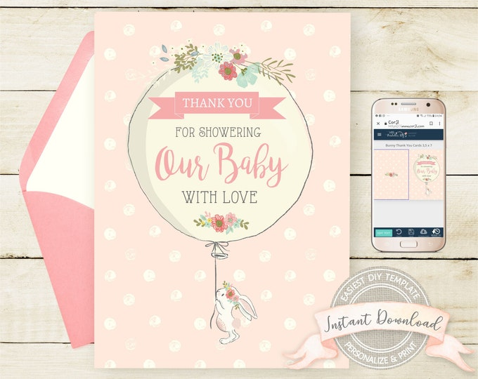 Bunny Baby Shower Thank You Card, INSTANT DOWNLOAD, Editable by you with Corjl, Printable Digital Template, 3.5 x 5, Bunny Thank You Cards