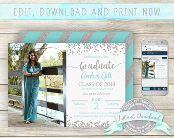 Editable Graduation Photo Invitation, INSTANT DOWNLOAD, Edit yourself with Corjl, Digital Graduation Announcement