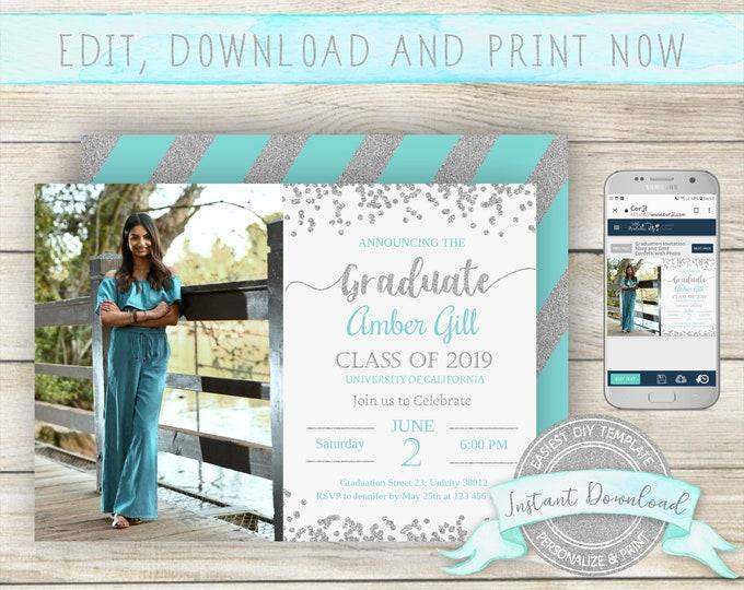 Editable Graduation Photo Invitation, INSTANT DOWNLOAD, Edit yourself with Corjl, Digital Graduation Announcement