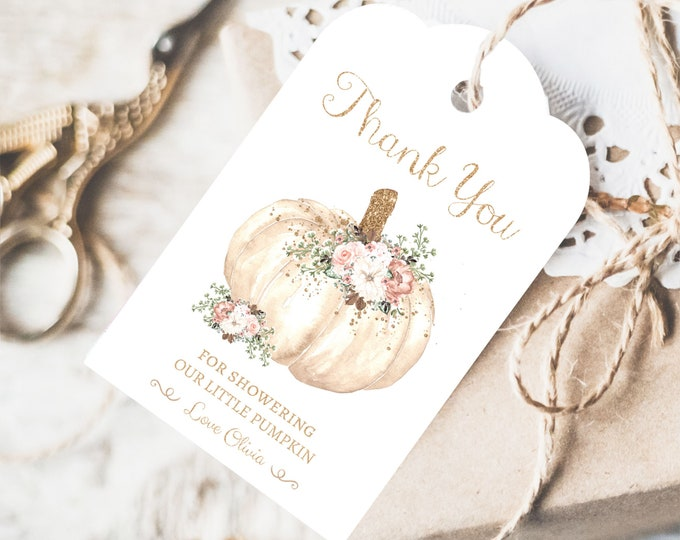 Floral Pumpkin Baby Shower Thank You Tag, Instant Access, Editable and Printable by you, Little Pumpkin Tags, DIY Fall Thank You Cards