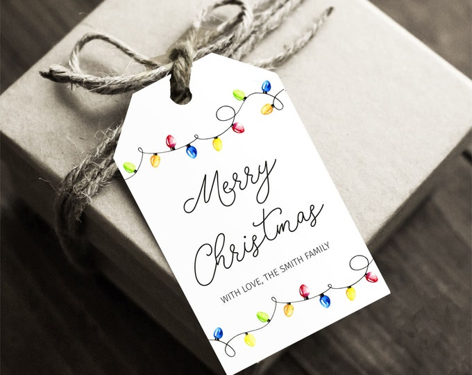 Editable Christmas Gift Tag with String Lights, Instant Access, Personalized Favor Tag Template, Elegant Printable Christmas Hang Tag