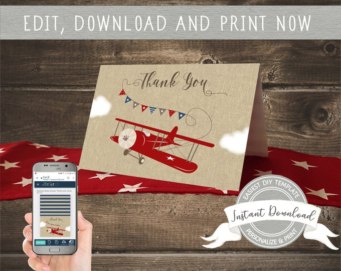 Airplane Baby Shower Thank you Cards for a Boy, Instant Download, Editable and Printable by you with Corjl