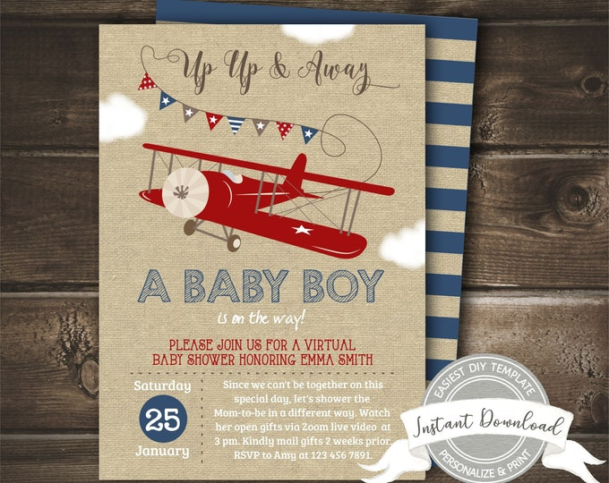 Virtual Baby Shower Invitation Boy, Airplane Baby Shower Invite, Editable & Printable by You, Instant Access, Digital Long Distance Invite