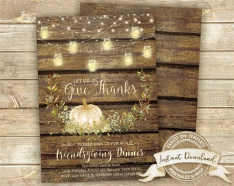 Friendsgiving Dinner Invitation, Rustic Thanksgiving Invitation, Instant Download, Editable Thanksgiving Invite, Printable Give Thanks