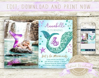 Mermaid Photo Invitation, Instant Download, Editable by you with Corjl, Printable Mermaid Birthday Invite for a Girl, Purple and Teal