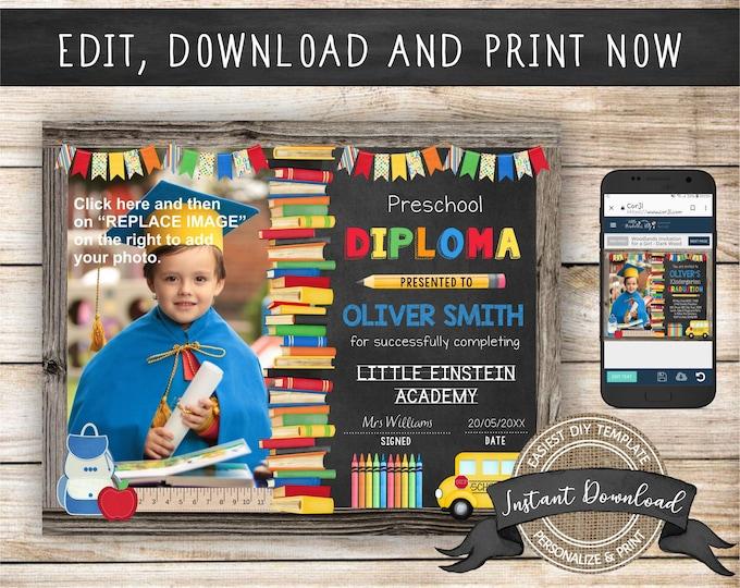 Editable Preschool Diploma with Photo, Any Grade, INSTANT DOWNLOAD, Printable Kindergarten Certificate, Preschool Graduation Diploma