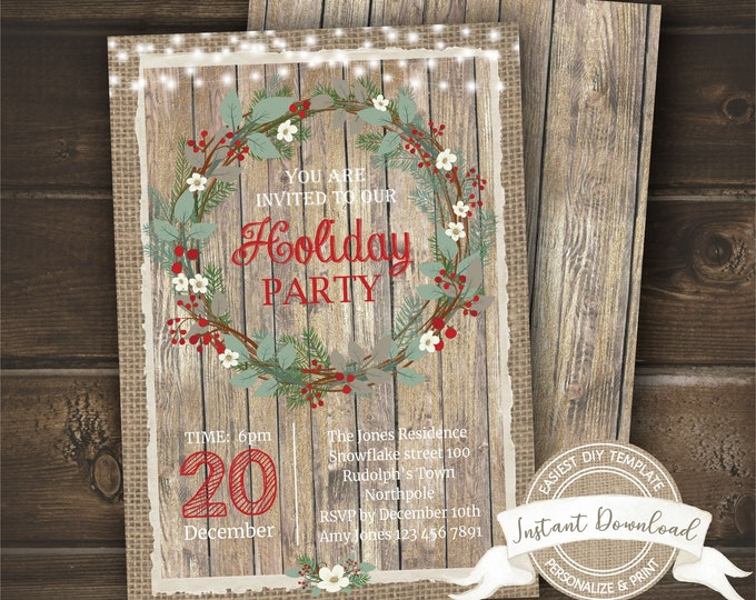 Rustic Holiday Party Invitation | Holiday Dinner Invite