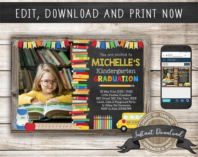 Kindergarten Graduation Invitation with Photo for a Girl or Boy, Editable and Printable by you with Corjl, INSTANT DOWNLOAD