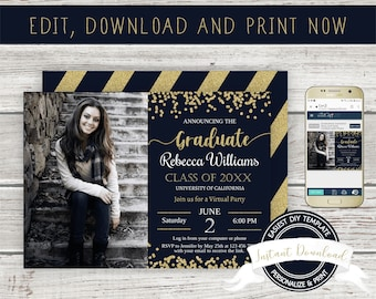 Virtual Graduation Invitation, INSTANT DOWNLOAD, Editable Graduation Photo Invite, DIY Printable Template, Digital Graduation Announcement