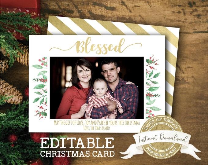 Christmas Photo Card Template | DIY Christmas Card