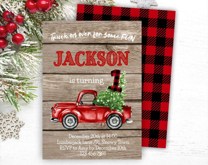 Rustic Christmas Truck Birthday Invitation, Editable Red Truck 1st Birthday Invite, Printable Lumberjack Template, Instant Access, Any Age