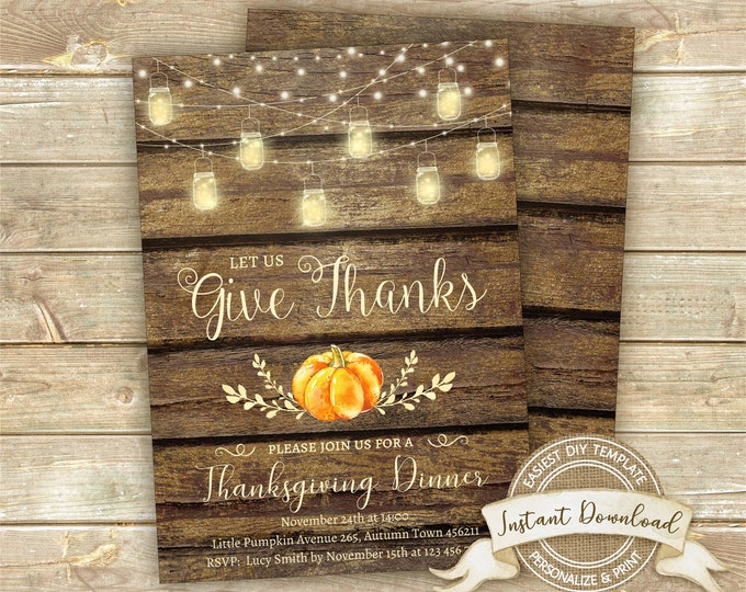 Thanksgiving Invitation, Thanksgiving Dinner Invitation, Instant Download, Editable and Printable by YOU, Rustic Pumpkin Thanksgiving Invite